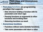first class and anonymous functions