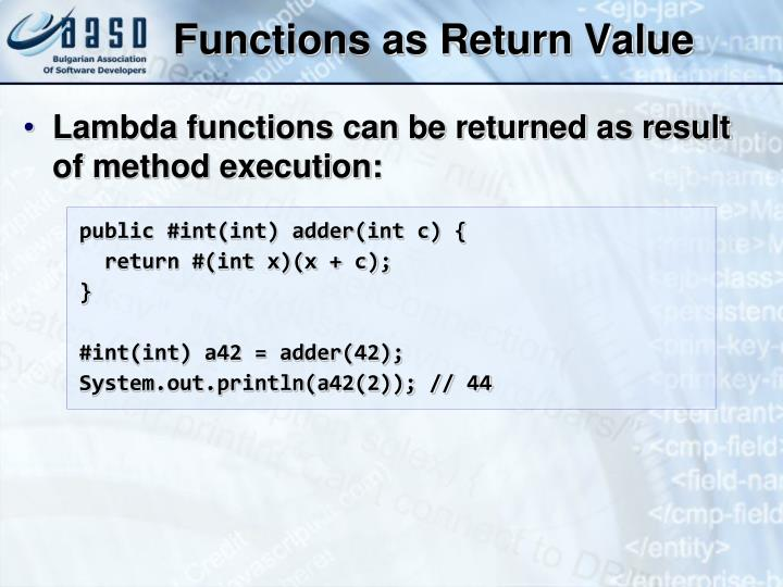 Functions as Return Value