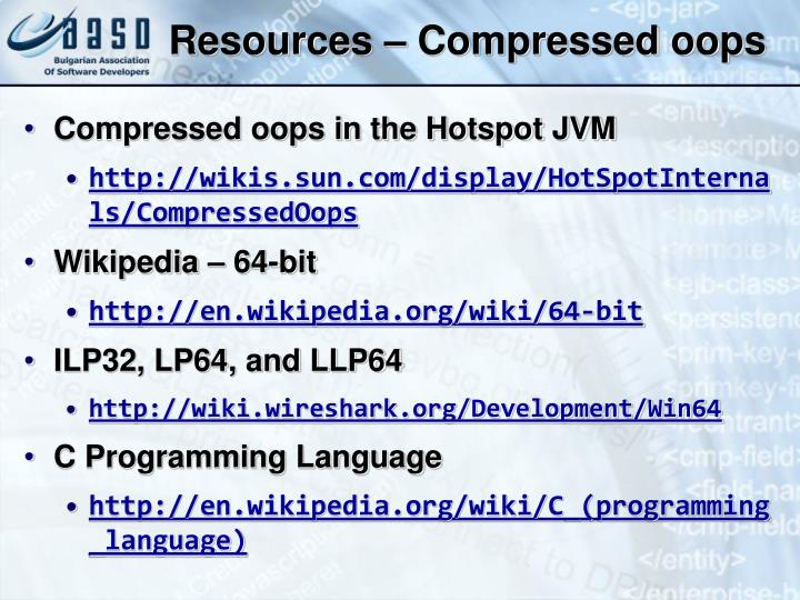 Resources – Compressed oops