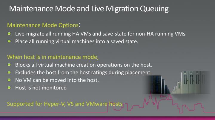 Maintenance Mode and Live Migration Queuing