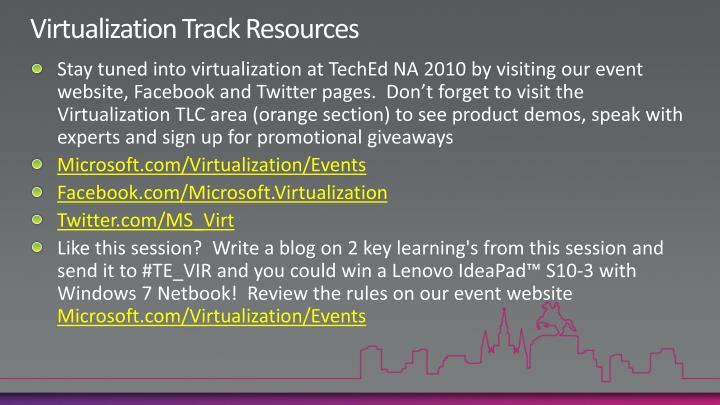 Virtualization Track Resources