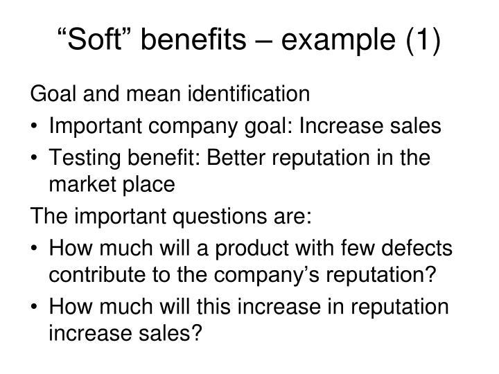 """Soft"" benefits – example (1)"
