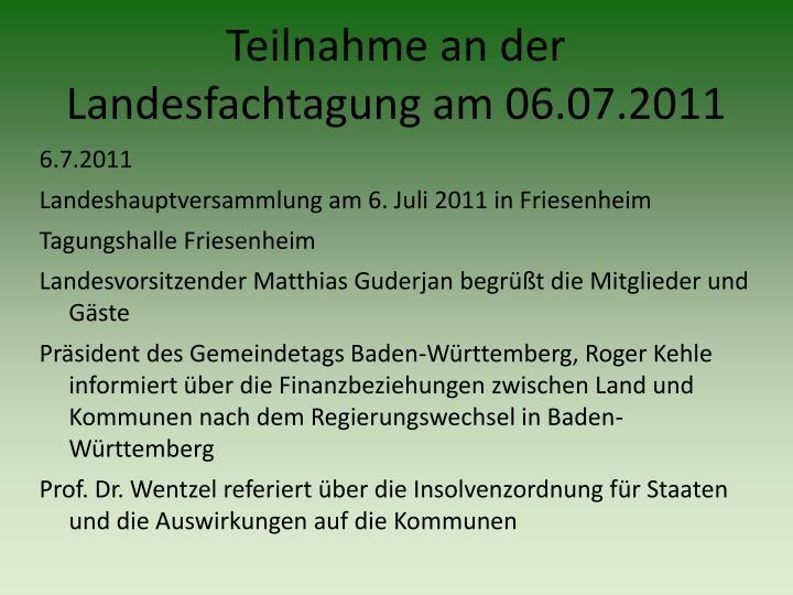 Teilnahme an der Landesfachtagung am 06.07.2011