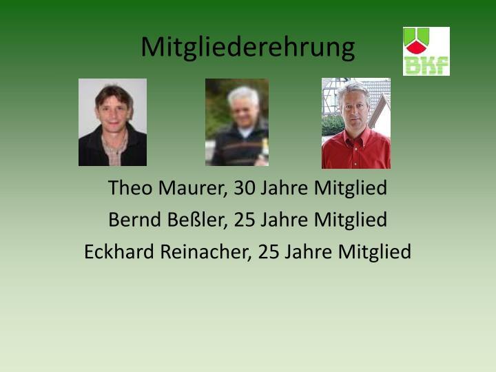 Theo Maurer, 30 Jahre Mitglied