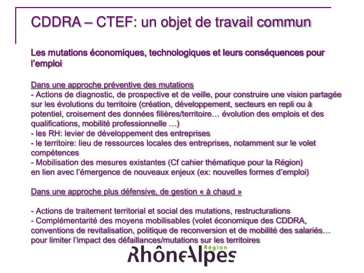 CDDRA – CTEF: un objet de travail commun