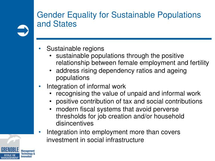 Gender Equality for Sustainable Populations and States