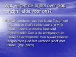 wat vertelt de bijbel over god en zijn liefde voor ons1