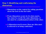 step 3 identifying and conforming the dimensions