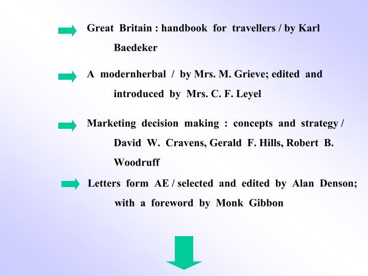 Great  Britain : handbook  for  travellers / by Karl