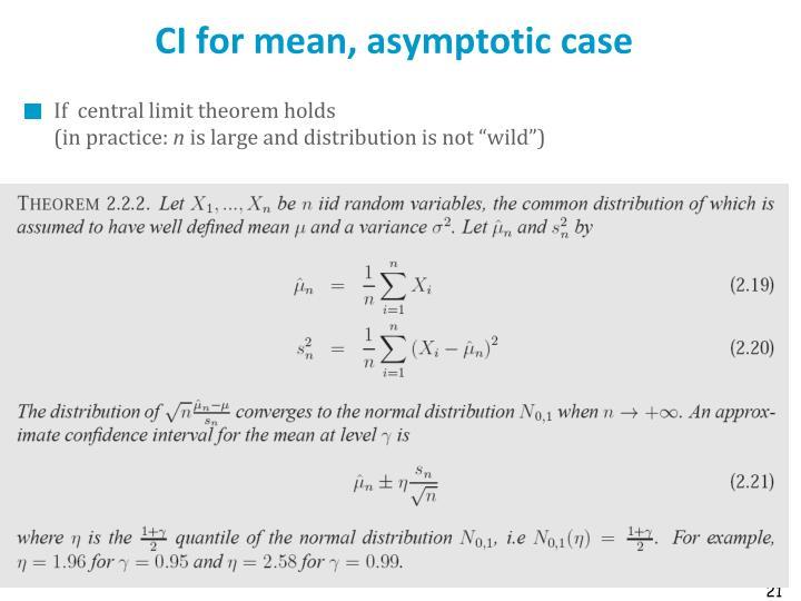 CI for mean, asymptotic case