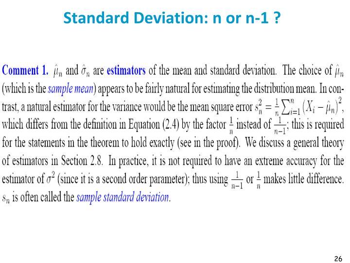 Standard Deviation: n or n-1 ?