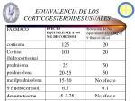 equivalencia de los corticoesteroides usuales