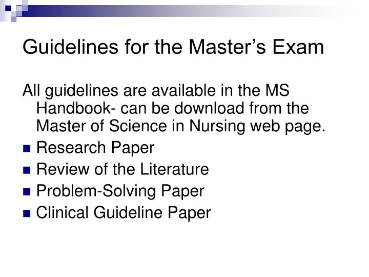 Guidelines for the Master's Exam