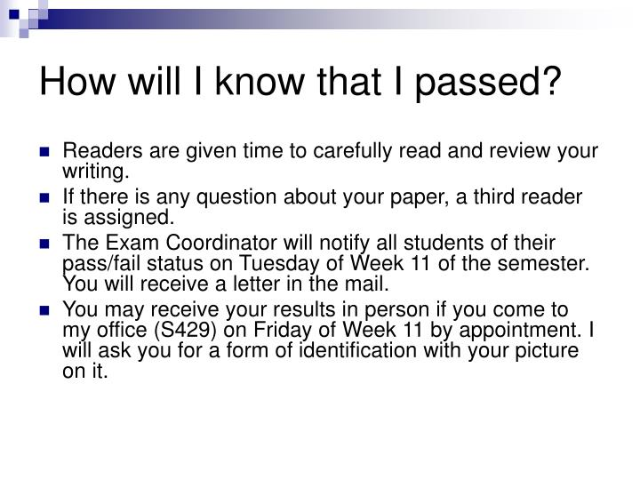 How will I know that I passed?