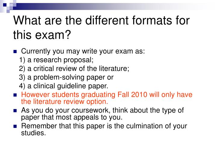 What are the different formats for this exam?
