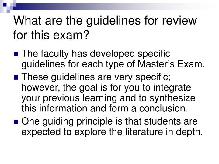 What are the guidelines for review for this exam?