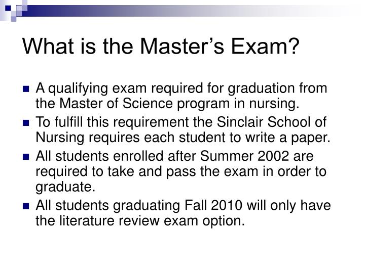 What is the Master's Exam?