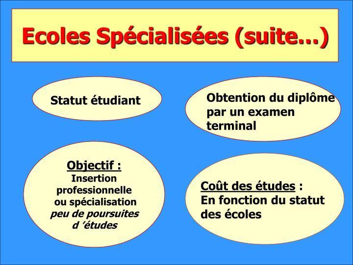 Ecoles Spécialisées (suite…)