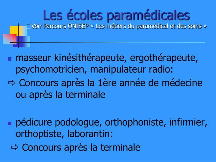 Les écoles paramédicales