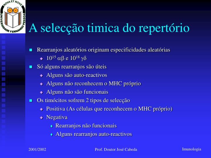 A selecção timica do repertório