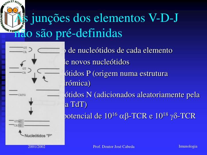 As junções dos elementos V-D-J não são pré-definidas