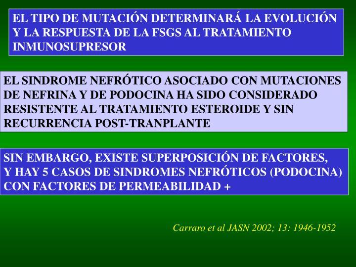 EL TIPO DE MUTACIÓN DETERMINARÁ LA EVOLUCIÓN