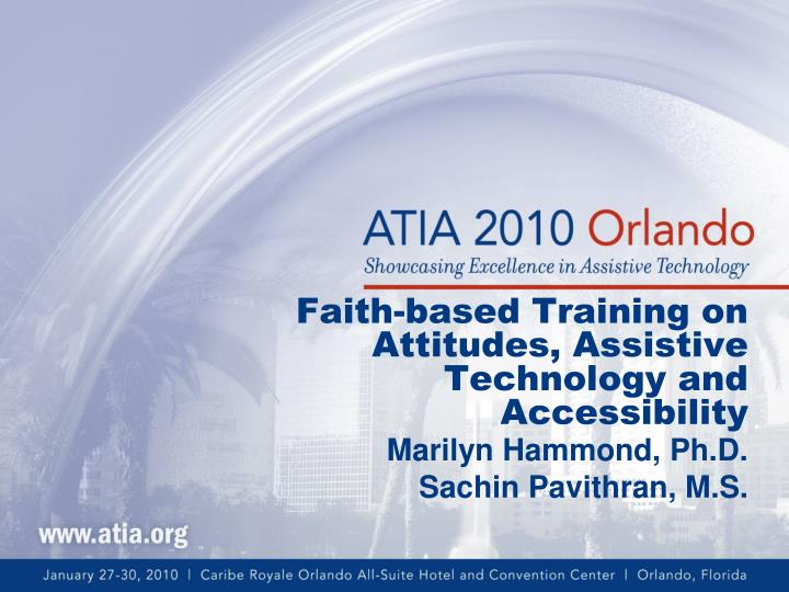 Faith based training on attitudes assistive technology and accessibility