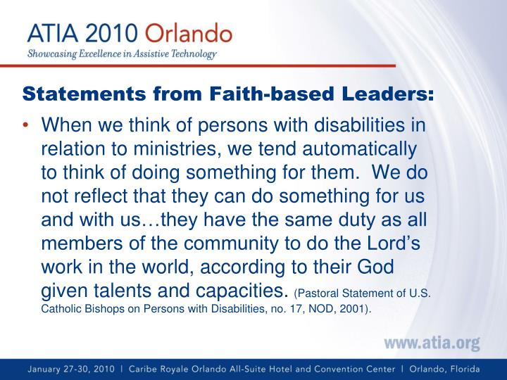 Statements from Faith-based Leaders: