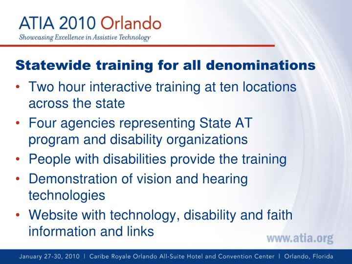 Statewide training for all denominations