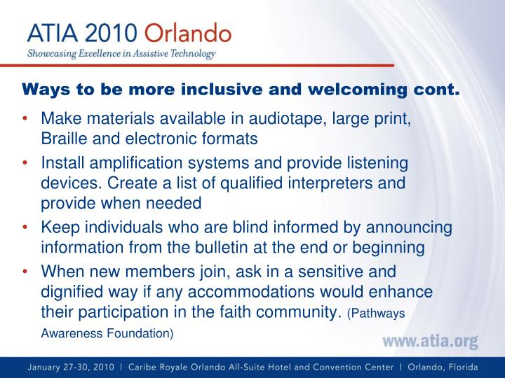 Ways to be more inclusive and welcoming cont.