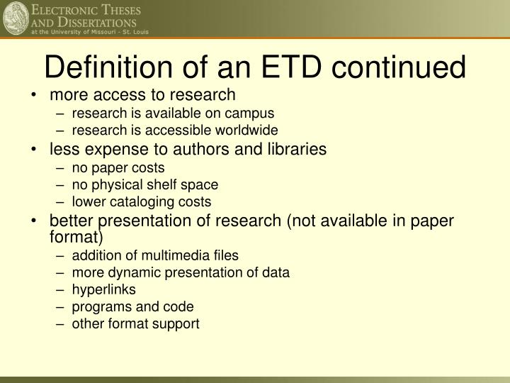Definition of an ETD continued