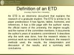 definition of an etd courtesy virginia tech university