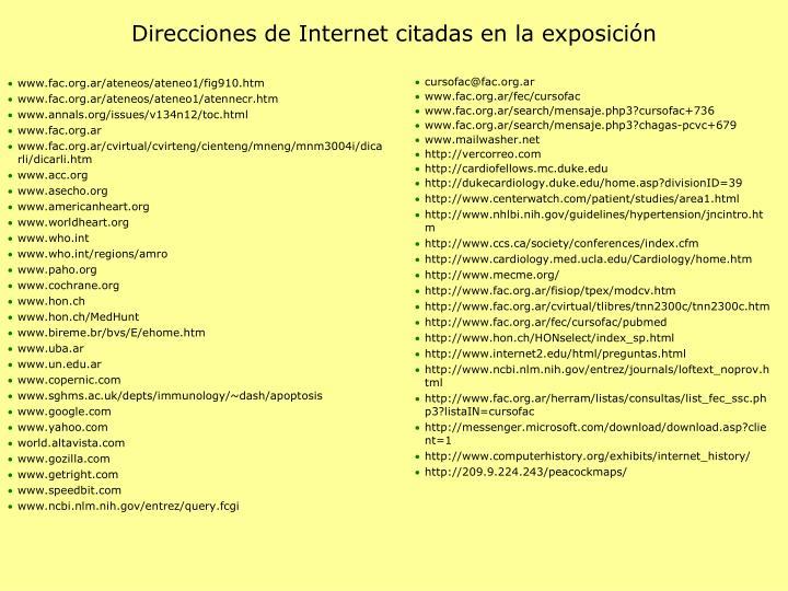 Direcciones de Internet citadas en la exposición