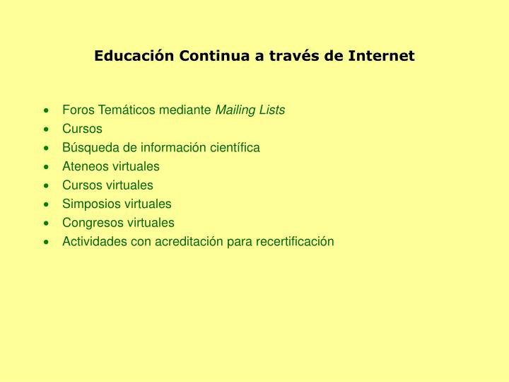 Educación Continua a través de Internet