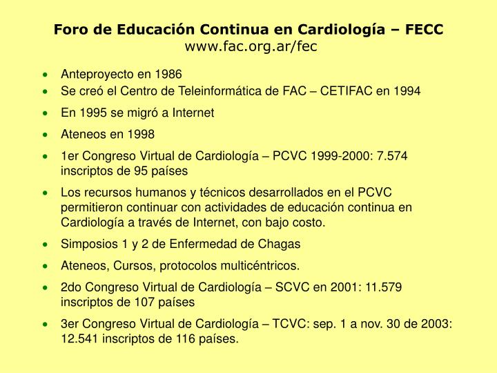 Foro de Educación Continua en Cardiología – FECC