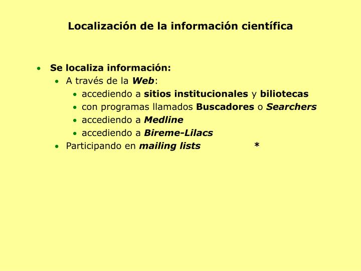 Localización de la información científica