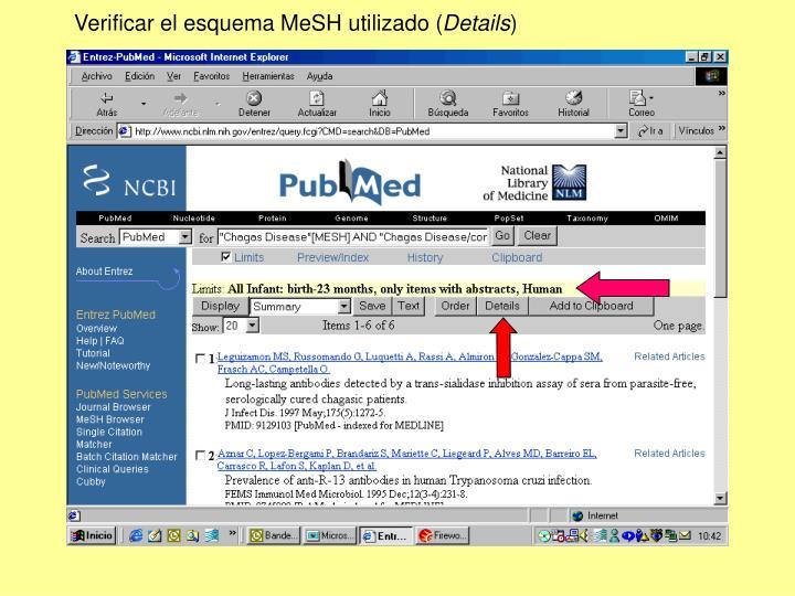 Verificar el esquema MeSH utilizado (