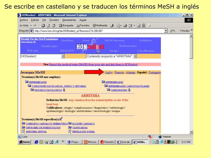 Se escribe en castellano y se traducen los términos MeSH a inglés