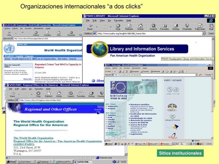 """Organizaciones internacionales """"a dos clicks"""""""
