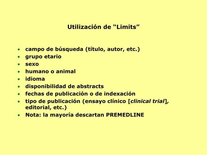 """Utilización de """"Limits"""""""