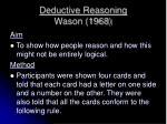 deductive reasoning wason 1968