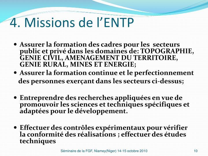 4. Missions de l'ENTP