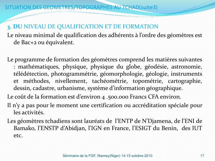 SITUATION DES GEOMETRES/TOPOGRAPHES AU TCHAD(suite3)
