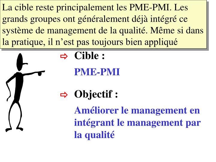La cible reste principalement les PME-PMI. Les grands groupes ont généralement déjà intégré ce système de management de la qualité. Même si dans la pratique, il n'est pas toujours bien appliqué