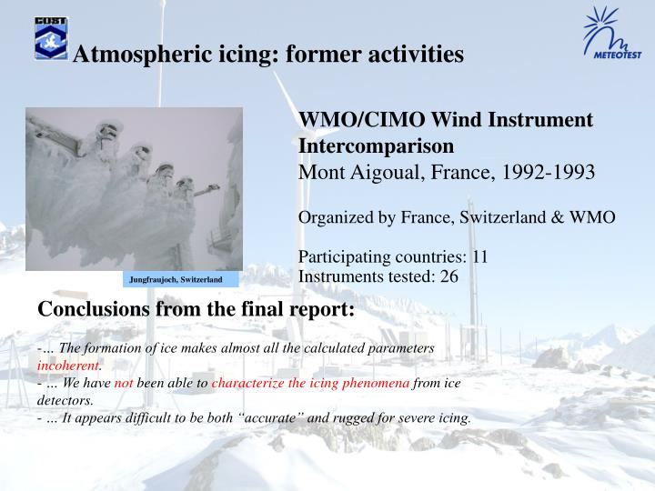 Atmospheric icing: former activities
