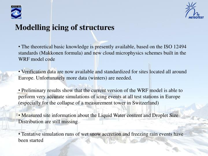 Modelling icing of structures