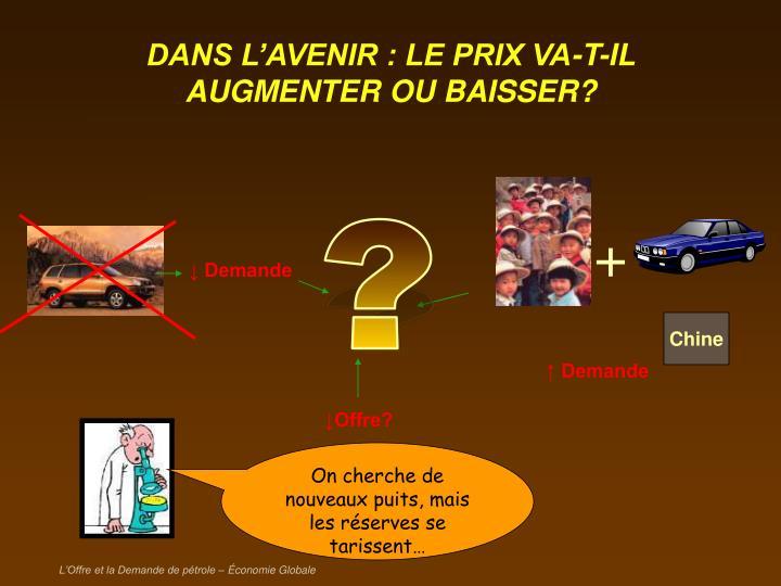 DANS L'AVENIR : LE PRIX VA-T-IL AUGMENTER OU BAISSER?