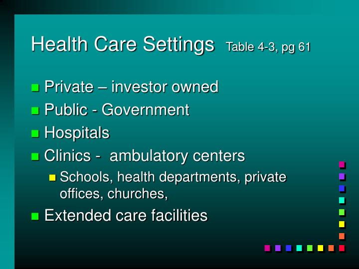 Health Care Settings