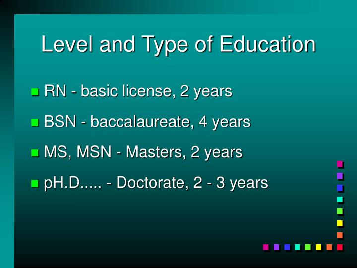 Level and Type of Education