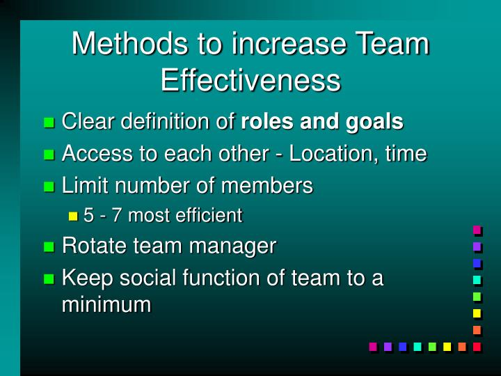 Methods to increase Team Effectiveness